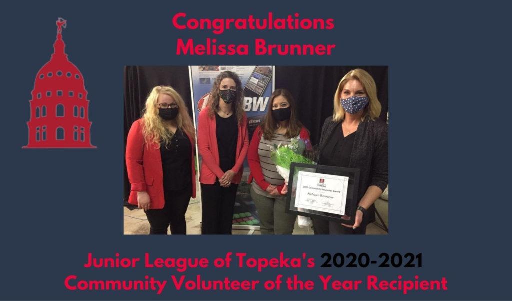 2020-2021 Community Volunteer Award Winner Melissa Brunner and JLT Members